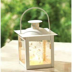 Other - NEW Small white lantern candle holder